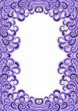 Purpler Curls Border Frame Card. Purple water waves border frame. Can bea frame for an invitation or greeting card Royalty Free Stock Photography