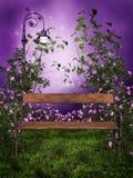 Purpleträdgård med en bänk stock illustrationer