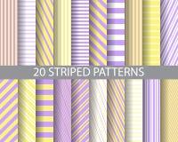 purplr 20 en gele gestreepte patronen vector illustratie