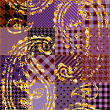 Purplr patchwork with ornament Stock Images