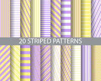 20 purplr and yellow striped patterns. 20 different purple and yellow stripes patterns,  Pattern Swatches, vector, Endless texture can be used for wallpaper Royalty Free Stock Photo