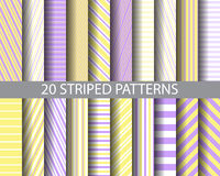 20 purplr and yellow striped patterns Royalty Free Stock Photo