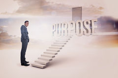 Purpose against white steps leading to closed door Stock Images