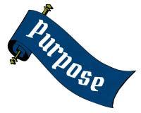 PURPOSE on blue paper scroll cartoon. Illustration image Royalty Free Stock Image