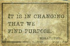 Purpose change Heraclitus. It is in changing that we find purpose - ancient Greek philosopher Heraclitus quote printed on grunge vintage cardboard stock photography