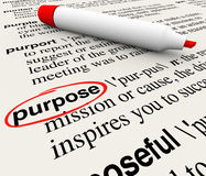 Free Purpose Dictionary Definition Word Objective Mission Deliberate Stock Photo - 49439440