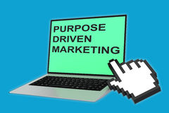 Purpose-Driven Marketing concept. 3D illustration of PURPOSE DRIVEN MARKETING script with pointing hand icon pointing at the laptop screen Royalty Free Stock Photo