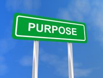 Purpose. Green roadside style sign board saying Stock Image
