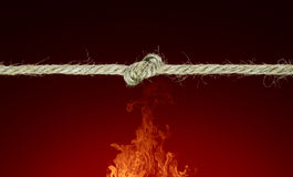 The purpose and means. The tense cord (unit in the middle). Fire. A beautiful art background Royalty Free Stock Photo