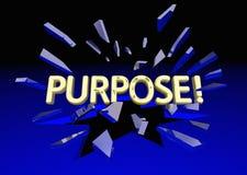 Purpose Reason Goal Mission Word Breaking Glass. 3d Illustration Stock Photo