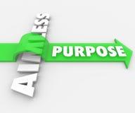 Purpose słowa strzała Nad Bezcelowym znaczenie ambici pragnieniem royalty ilustracja