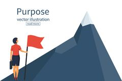 Purposeful businesswoman with flag in hand. Beginning of way to achievement of goal. Standing in front climb to mountain. Purpose concept. Vector illustration Royalty Free Stock Image