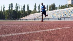 Purposeful Hispanic athlete running at stadium, preparing for marathon, sport stock photography