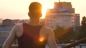 Purposeful man running in golden hour to meet new beginnings and opportunities. Stock footage stock video footage