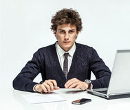 Purposeful Manager looking at camera with serious look Royalty Free Stock Photography