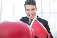 Purposeful young businessman in Boxing gloves. Concept of competitiveness royalty free stock images