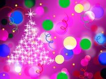 Purpur beschmutzt Hintergrund-Durchschnitte Dots And Sparkling Christmas Tree Lizenzfreie Stockfotos