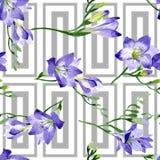 Purpur freesia Seamless bakgrund mönstrar Textur för tygtapettryck stock illustrationer