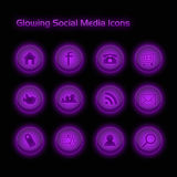 Purpur-glühende Sozialmedia-Ikonen lizenzfreies stockbild