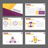Purpur i żółtego wielocelowego broszurki ulotki ulotki strony internetowej szablonu płaski projekt Fotografia Stock