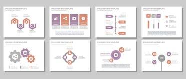 Purpur i czerwonego wielocelowego prezentacja szablonu projekta płaski set Obraz Stock
