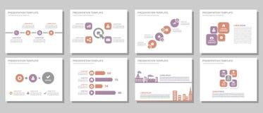 Purpur i czerwonego wielocelowego prezentacja szablonu projekta płaski set Zdjęcia Stock