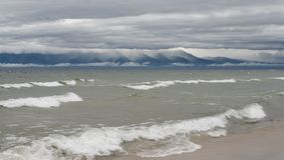 Purpur i menchii wschód słońca nad Baikal jeziorem fotografia royalty free