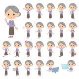 Purpur kleidet Großmutter Stockfotos