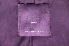Purpur ubrań etykietka Zdjęcie Stock