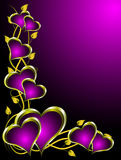 Purpur und Goldinner-Valentinsgruß-Hintergrund Stockfotografie