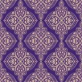 Purpur und Goldorientalisches nahtloses Muster lizenzfreie abbildung