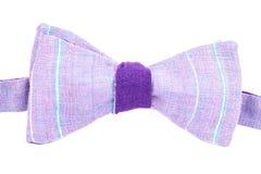 Purpura łęku pasiasty krawat odizolowywający Zdjęcia Stock