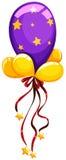 Purpura balon z czerwonym faborkiem ilustracja wektor