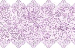 Purpura gronowych winogradów koronkowy horyzontalny bezszwowy ilustracja wektor