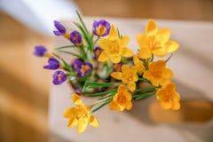 purpura i kolor żółty kwitniemy na drewnianym stole zdjęcie stock