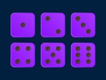 Purpura koloru wektoru kostki do gry royalty ilustracja
