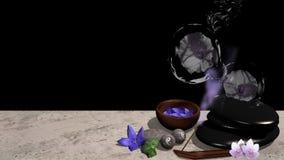 Purpura kwiaty, puchar kwiaty, pumice kamień, Qigong piłki z ilustracja wektor