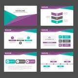 Purpura Zielonego wieloboka infographic element i ikony prezentaci szablonów płaski projekt ustawiamy dla broszurki ulotki ulotki Obraz Stock