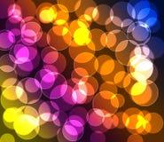 Purpura zielony czerwony błękitny kolor żółty barwił bokeh tło Obraz Stock