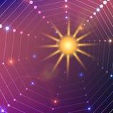 Purpurfärgad backgroung för abstrakt vektor med solen Fotografering för Bildbyråer