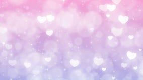 Purpurfärgad bakgrund för moderdagen med partiklar, mousserar och hjärtor lager videofilmer