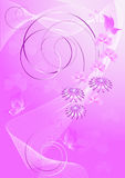 Purpurfärgad bakgrund med blommor och fjärilar Royaltyfria Foton