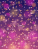 Purpurfärgad bakgrund med snöflingan och bokeh, vektor royaltyfri illustrationer