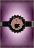 Purpurfärgad design för kaffehusmeny Fotografering för Bildbyråer