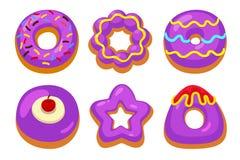 Purpurfärgad donutsuppsättning Royaltyfri Foto