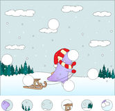 Purpurfärgad drake med släden i vinterskogen: avsluta pusslet Arkivbild