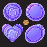 Purpurfärgad färg för fastställd krage för stenskiva moderiktig Runda som är oval, hjärtaform Vektorillustration på svart royaltyfri illustrationer