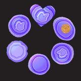 Purpurfärgad färg för fastställd krage för stenskiva moderiktig Runda som är oval, hjärtaform Vektorillustration på svart stock illustrationer