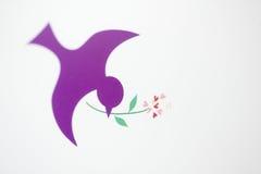 Purpurfärgad fågel med blommor Royaltyfria Bilder