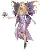 Purpurfärgad fe med fjärilen royaltyfri illustrationer